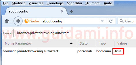 Firefox finestra aboutconfig