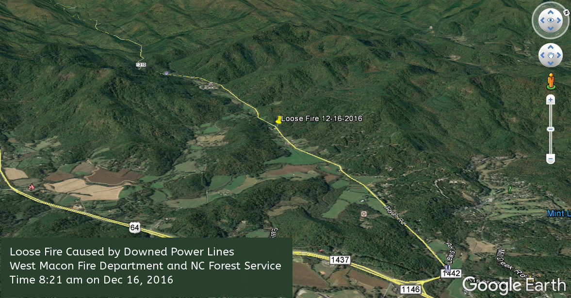 Map showing location of fire  Map Coordinates provided by NC Forest Service