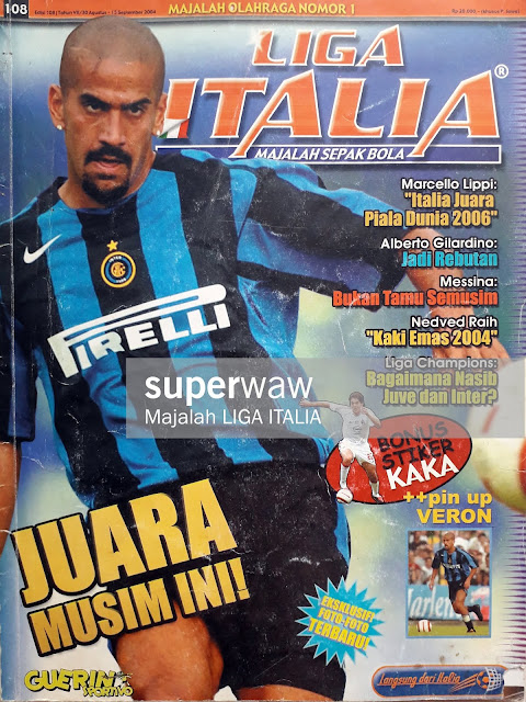 SOCCER MAGAZINE COVER JUAN VERON OF INTER MILAN