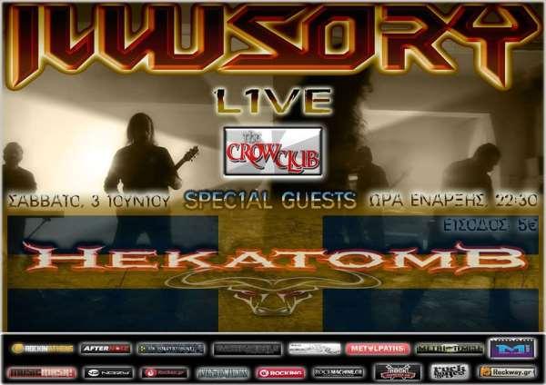 ILLUSORY, HEKATOMB: Σάββατο 3 Ιουνίου @ The Crow Club