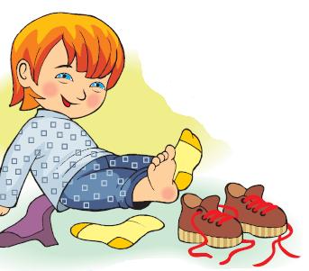 Картинка мальчик обувается для детей