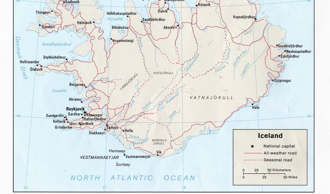 Kaart Landen Noord Europa Kaart Ijsland En Reykjavik Vakantie