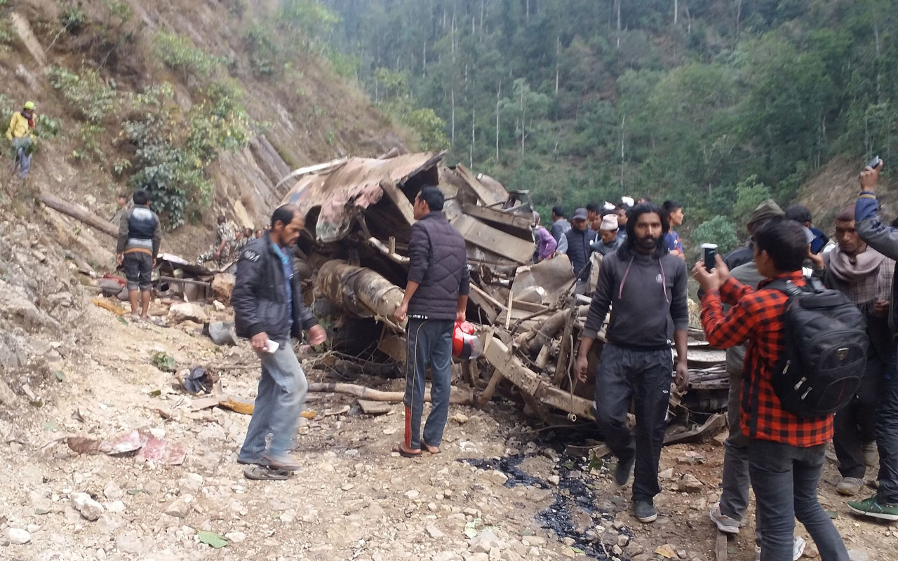 road accident in nepal At least 31 people were killed today and several others injured when a crowded bus skidded off the road hill in central nepal.
