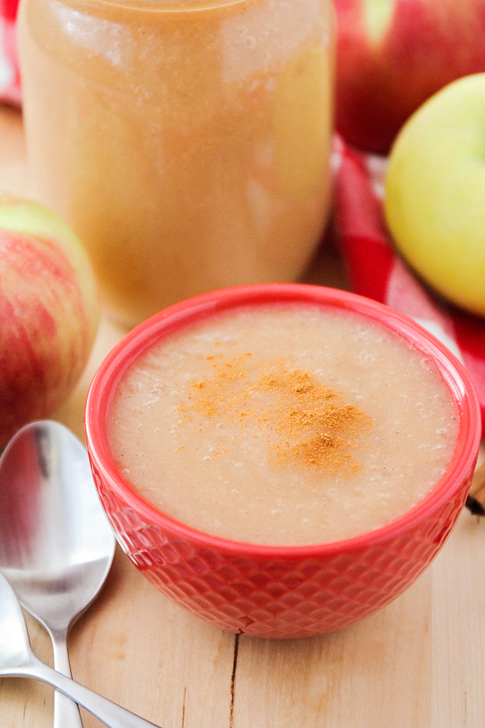 This smooth and sweet Instant Pot cinnamon applesauce is a cinch to make and has only four ingredients!