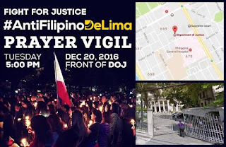 AntiFilipinoDelima Prayer Vigil, #antifilipinodelima, anti yellow rally