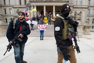 "Armed Protestors Against the Lockdown - Trump Calls Them ""Responsible People"" (click for report)"