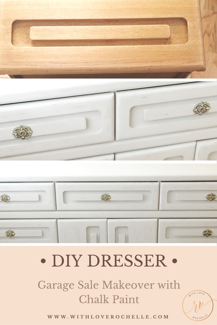 Old dresser remodel using chalk paint and adding vintage embellishments.  Easy step by step tutorial.