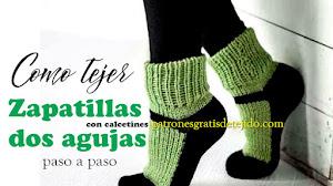 Cómo Tejer Calcetines con Zapatos en Una Sola Pieza Dos Agujas / Tutorial