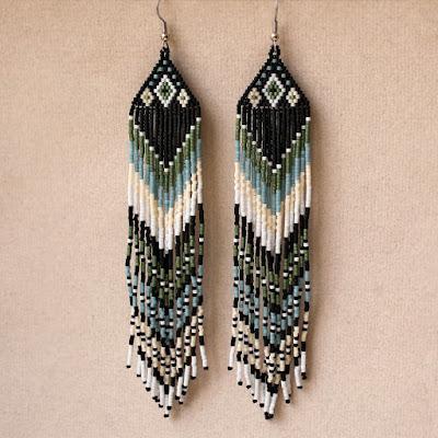 купить этнические украшения из бисера большие серьги в этно стиле ручной работы