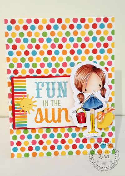 This is a picture of a Fun In The Sun card featuring a girl with pail.