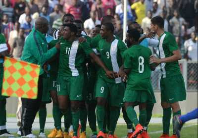 Super Eagles celebrates goal against Swaziland | Nigeria won 2-0