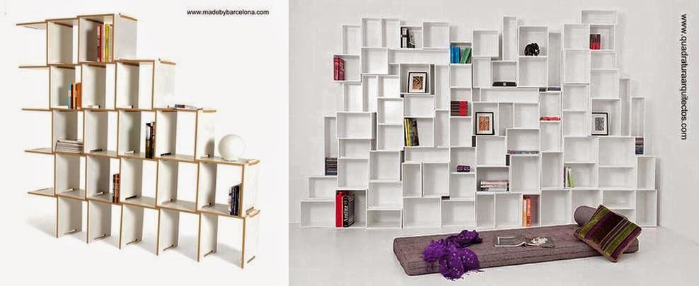 Dos modelos de estanterías autoportantes modulares con elementos de madera