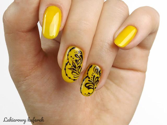 Dream Nails Warszawa, ornametny na paznokciach, zdobienie paznokci, hybrydy, hybrydy Dream Nails, Żółte paznokcie, Pomysły na żółte paznokcie, Jak zrobić ornametny na paznokcaich, Mehendi na paznokciach,