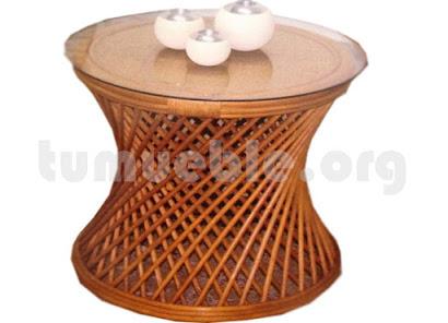 mesa de centro hecho en rattan natural j60