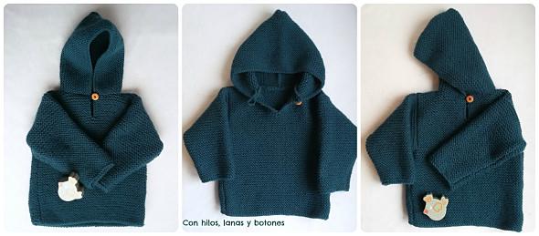 Jersey con capucha para bebé paso a paso | Con hilos, lanas y botones