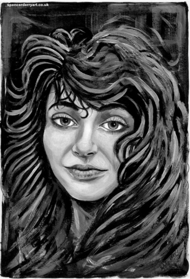 A Study of British Musician, Kate Bush. Original hand painted fine art portrait with acrylic on paper. Size A4: 21 x 29.7cm 220 gsm white paper (not framed) Media: Acrylic paint. Signed and Dated by Artist Spencer J. Derry in 2018.