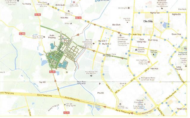 Vị trí khu đô thị sinh thái Xuân Phương