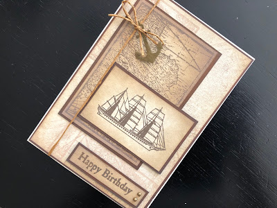 Hand made vintage style nautical themed birthday card