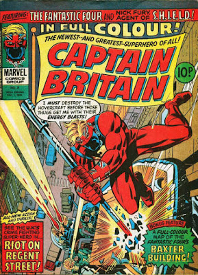 Marvel UK, Captain Britain #8, Hovercraft driving up the wall of a building in Regent Street, London
