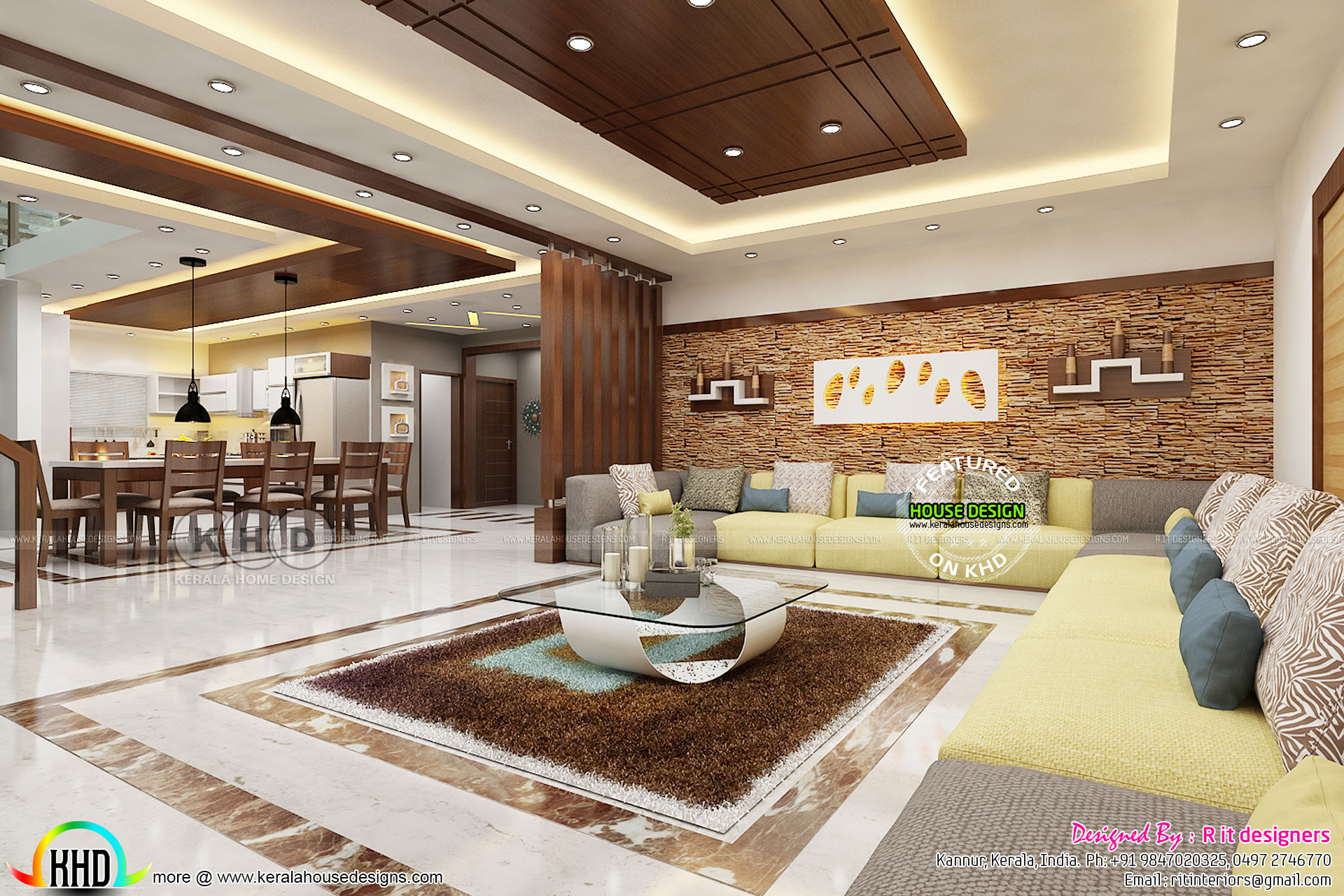 House design and inside interior kerala home design and for Dining room designs india