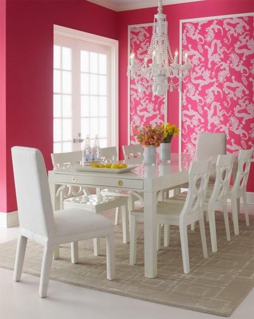 Comedores en color rosa colores en casa for Comedor 2 colores