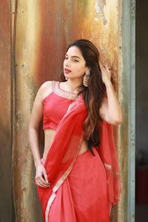 Tanya Hope in Red Saree at Thadam Movie Audio Launch