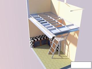 Tampak gambar potongan posisi dak dan tangga