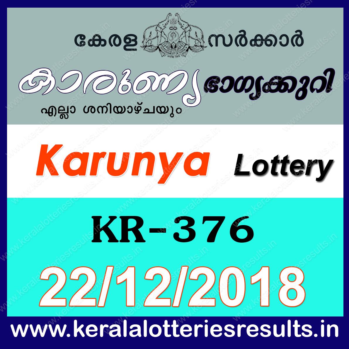 Kerala Lottery Result; 22.12.2018 Karunya Lottery Results