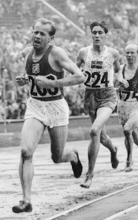 Emil Zatopek in action in the  5,000 metres in London in 1948