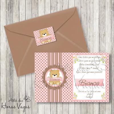 convite aniversário infantil personalizado artesanal ursinha urso ursinho poá bolinhas marrom rosa delicado vintage menina bebê 1 aninho festa envelope adesivo tag