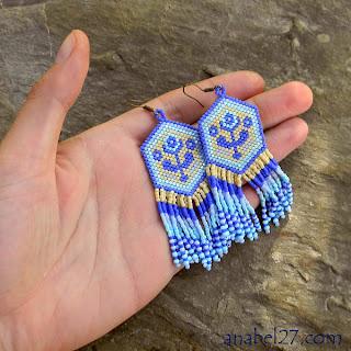 купить серьги из бисера с бахромой и цветочным орнаментом хиппи