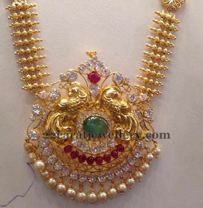 Cz Gold Long Chain 78gms Jewellery Designs