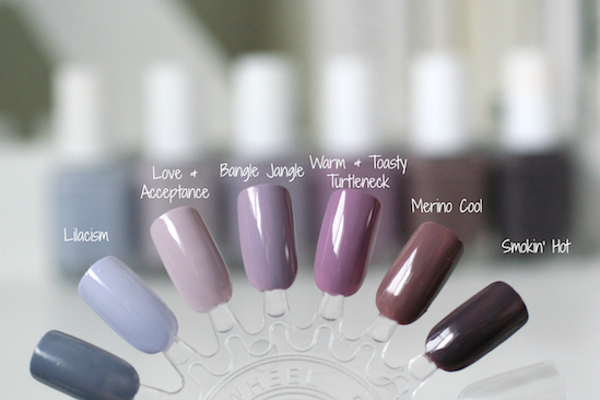 Essie Grey Purples Comparison Lilacism Love Acceptance Bangle Jangle Warm Toasty Turtleneck Merino Cool Smokin Hot Essie Envy