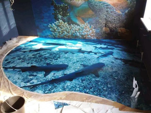 koi fish swimming in 3d flooring for bathroom