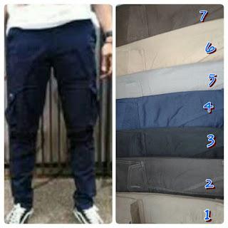 celana cargo panjang pria biru navy
