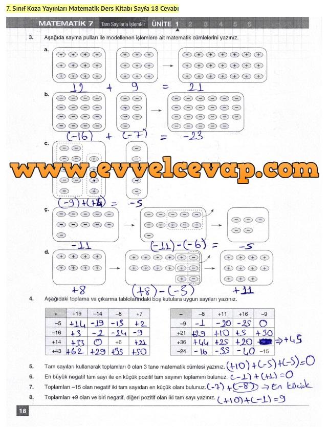 7. Sınıf Matematik Ders Kitabı Cevapları Koza Yayınları Sayfa 18