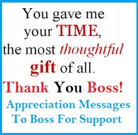 appreciation messages and letters boss for support