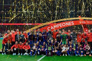 برشلونة بطل كأس الملك للمرة الثلاثين في تاريخه، بعد الفوز على إشبیلیة بخماسية 5-0 الاهداف التتويج