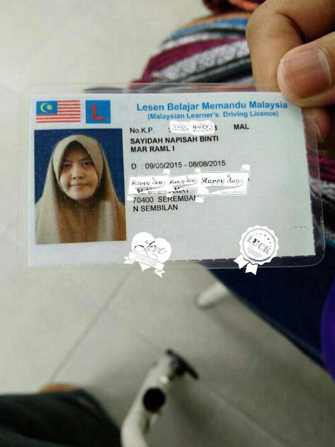 DAPAT LESEN BELAJAR MEMANDU MALAYSIA (LESEN L) !