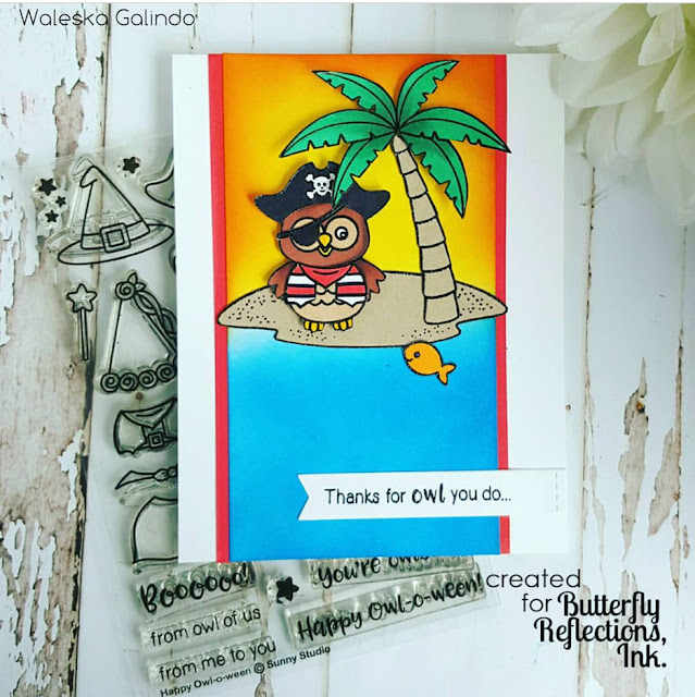 Sunny Studio Stamps: Happy Owl-o-ween Pirate card by Waleska Galindo