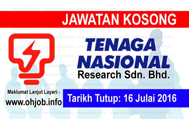 Jawatan Kerja Kosong TNB Research Sdn Bhd logo www.ohjob.info julai 2016
