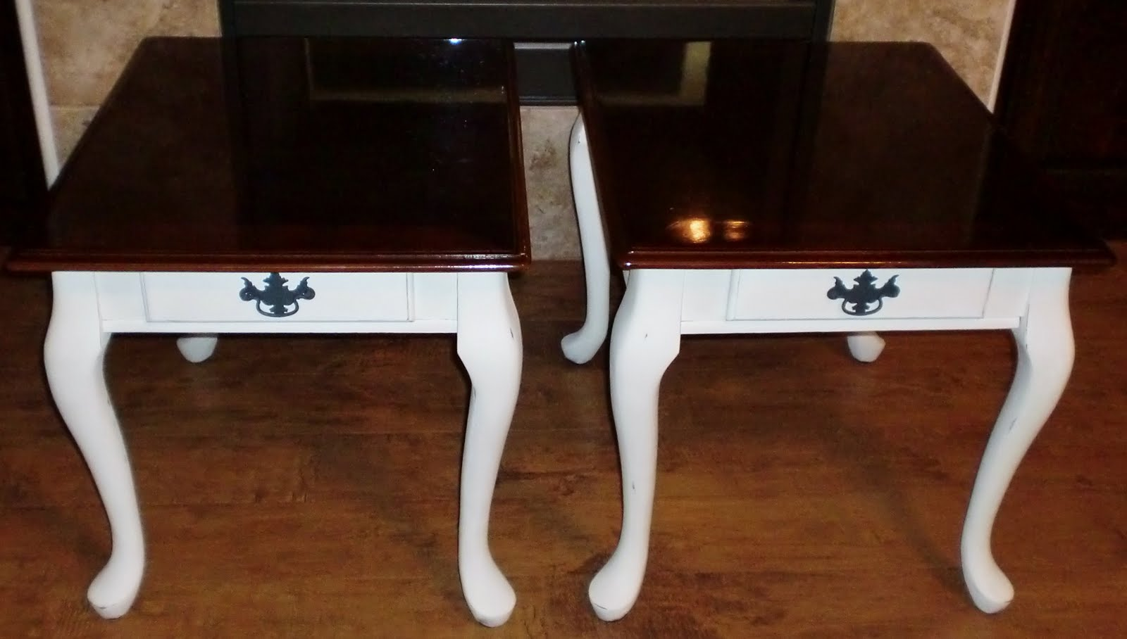 Shabby Chic End Tables In Old White