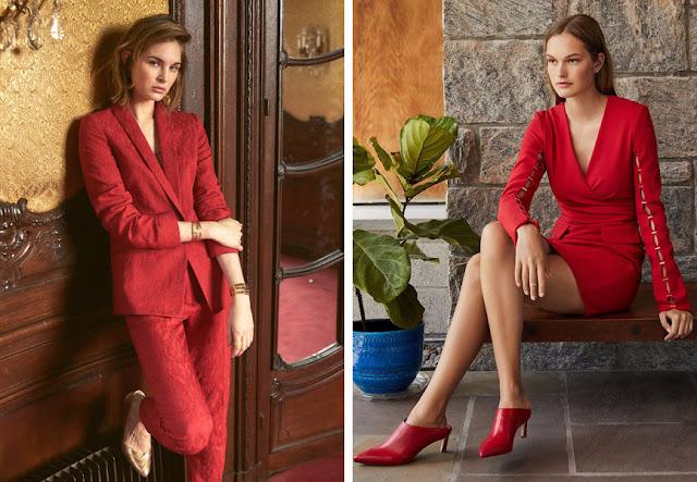 Шикарный красный брючный костюм и платье