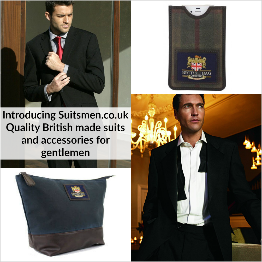 "Suits Men British-made quality clothing for gentlemen up to 60"" chest"