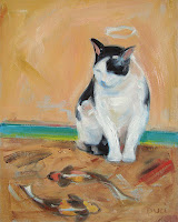 cat with halo looking at chalk drawing of fish