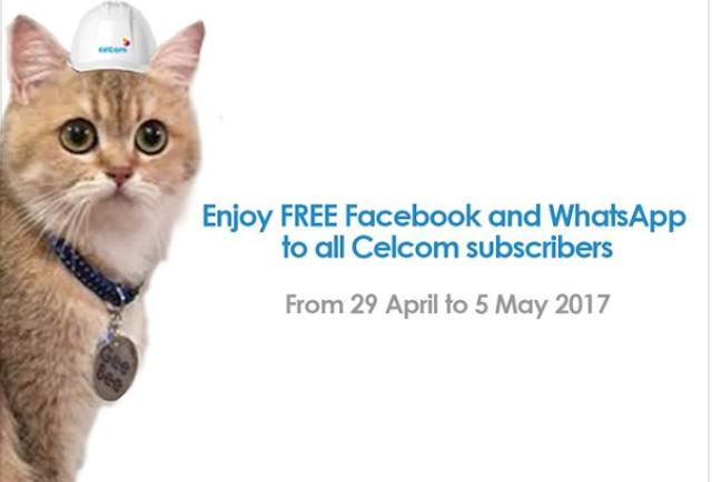 Celcom Beri Data Percuma Tanpa Had Untuk WhatsApp & Facebook Bermula 29 April Hingga 5 Mei Ini