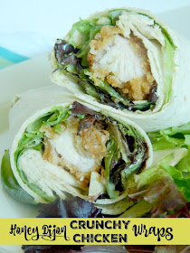 Honey Dijon Crunchy Chicken Wraps...the perfect blend of a crunchy chicken finger and fresh greens all tossed in a creamy yogurt dressing! (sweetandsavoryfood.com)