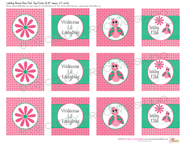 lil ladybug baby shower toppers, party circles for ladybug shower, daisy