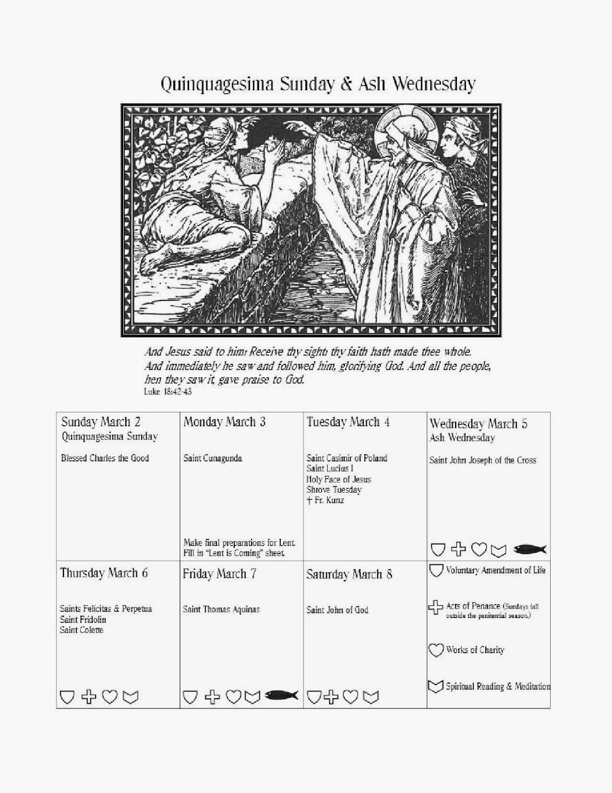 Trinity Acres Lenten Calendar