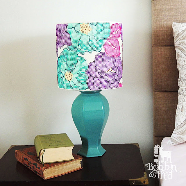 Contemporary Lampshade Design featuring Modern Floral Cross Stitch